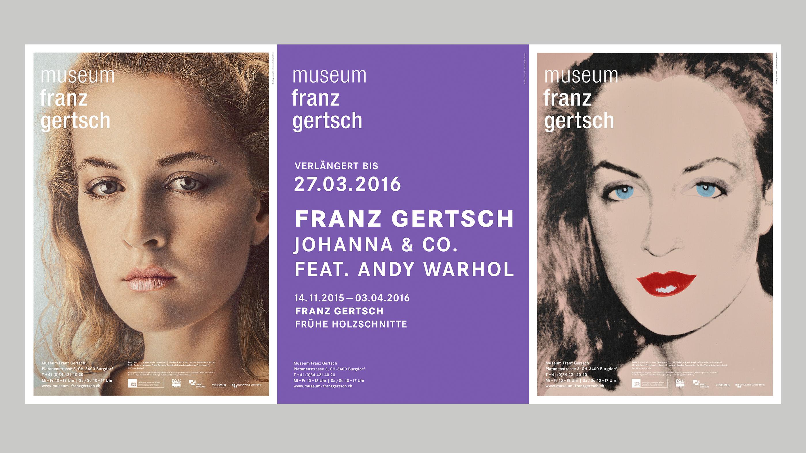 Museum Franz Gertsch – Kommunikation, Poster trio, spring 2015 ©Atelier Pol