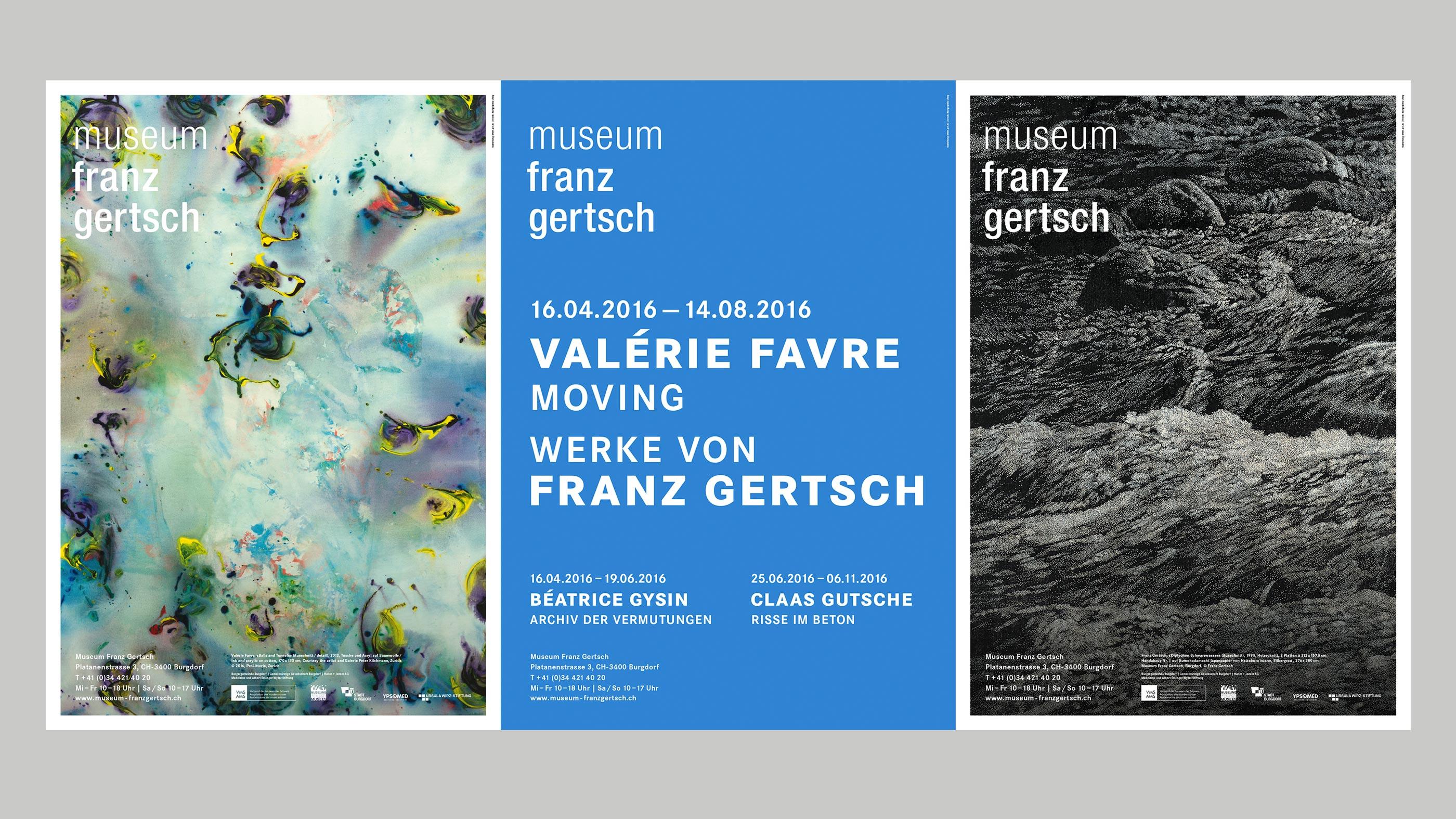 Museum Franz Gertsch – Kommunikation, Poster trio, fall 2016 ©Atelier Pol