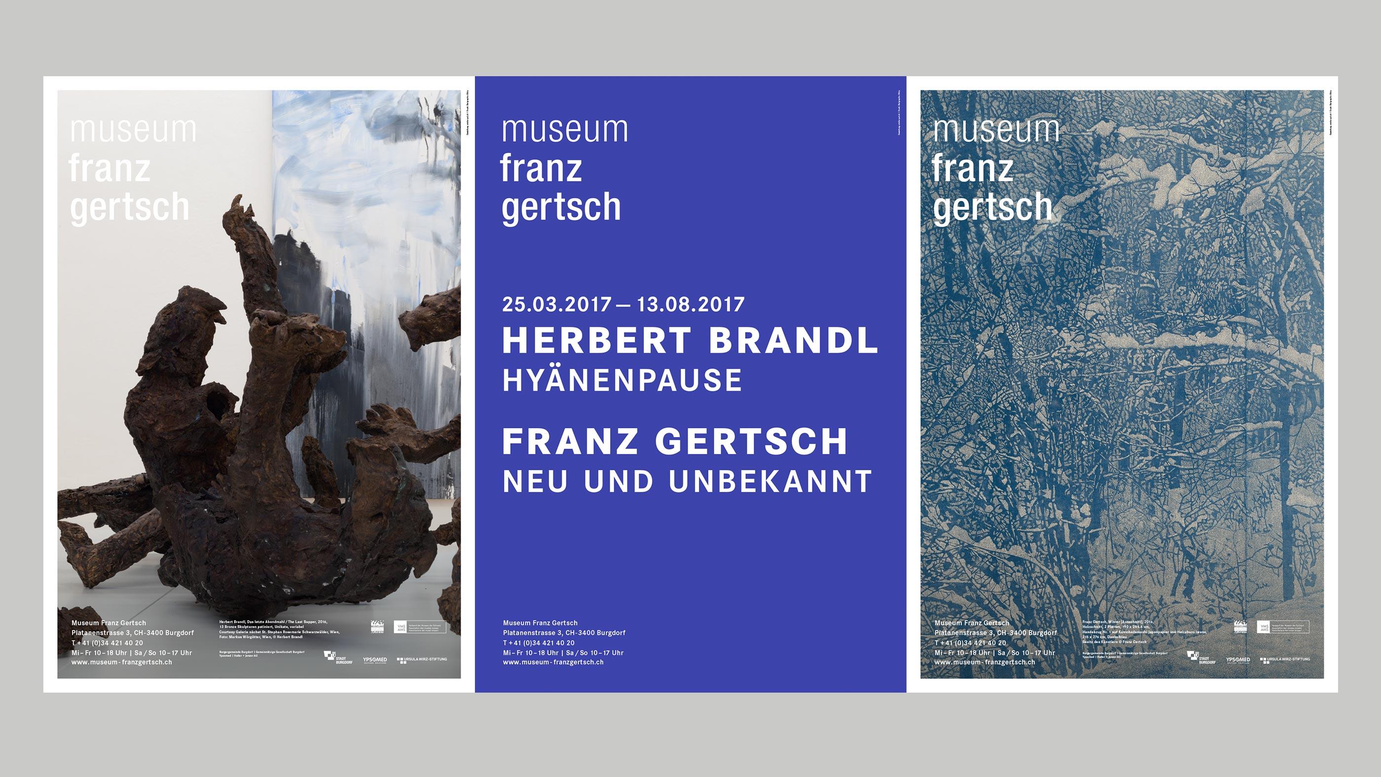 Museum Franz Gertsch – Kommunikation, Poster trio, spring 2017 ©Atelier Pol
