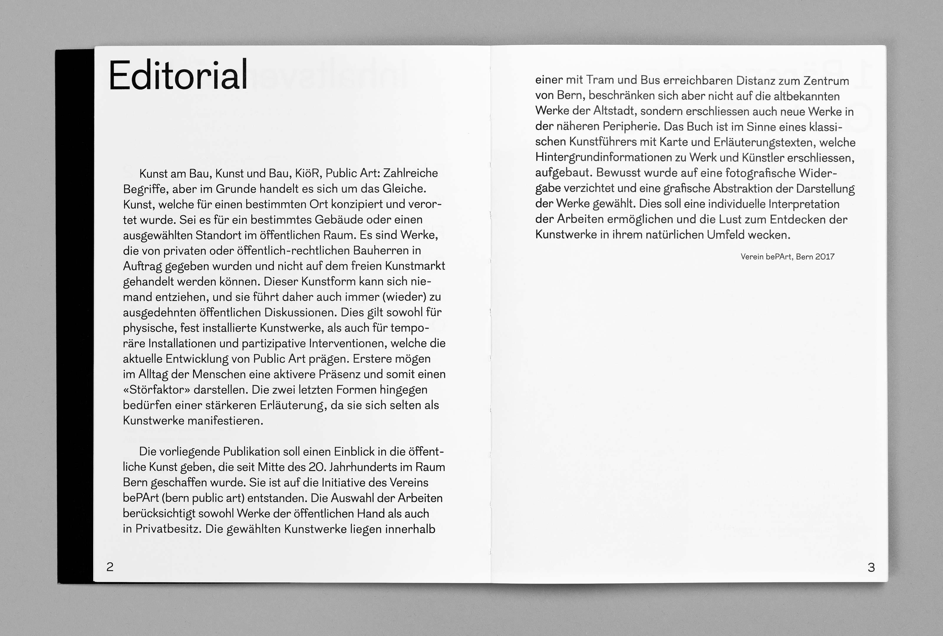 bePArt – Kunst im öffentlichen Raum Bern, spreads 2–3 ©Atelier Pol × Barbara Hess