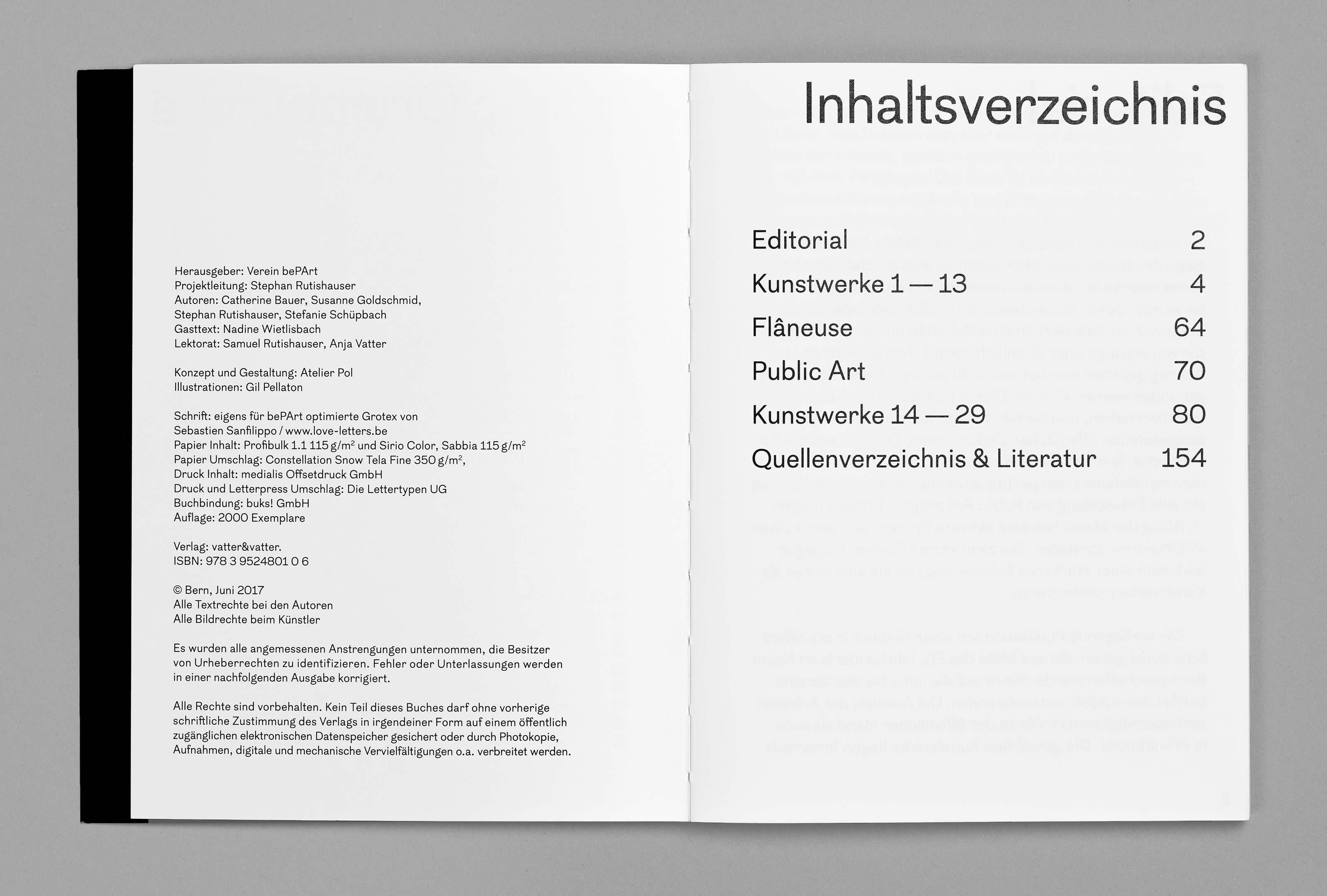 bePArt – Kunst im öffentlichen Raum Bern, spreads colophon-content ©Atelier Pol × Barbara Hess