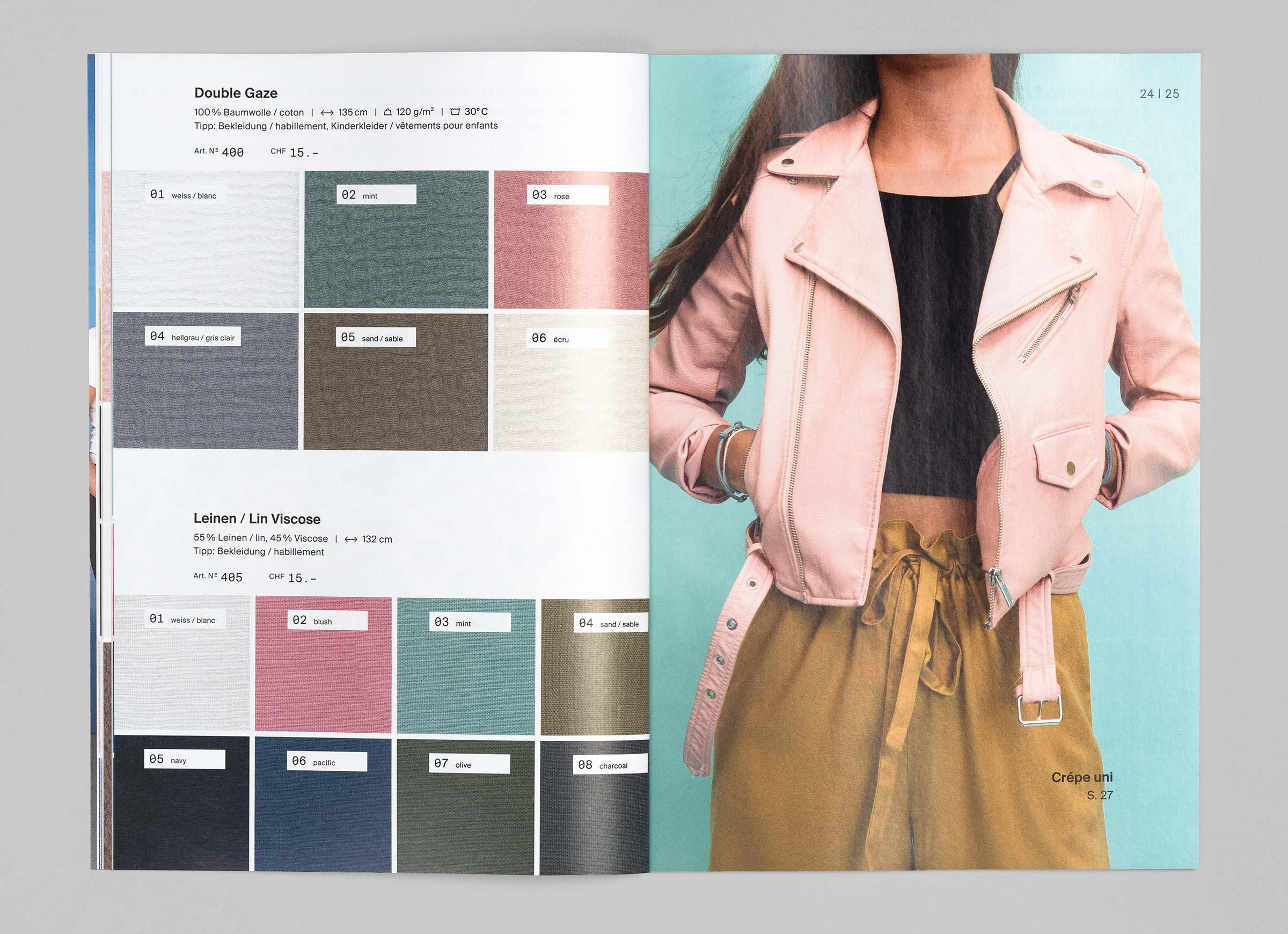 Textil Tricot Vogt – Katalog 2017/18, spreads ©Atelier Pol × Barbara Hess