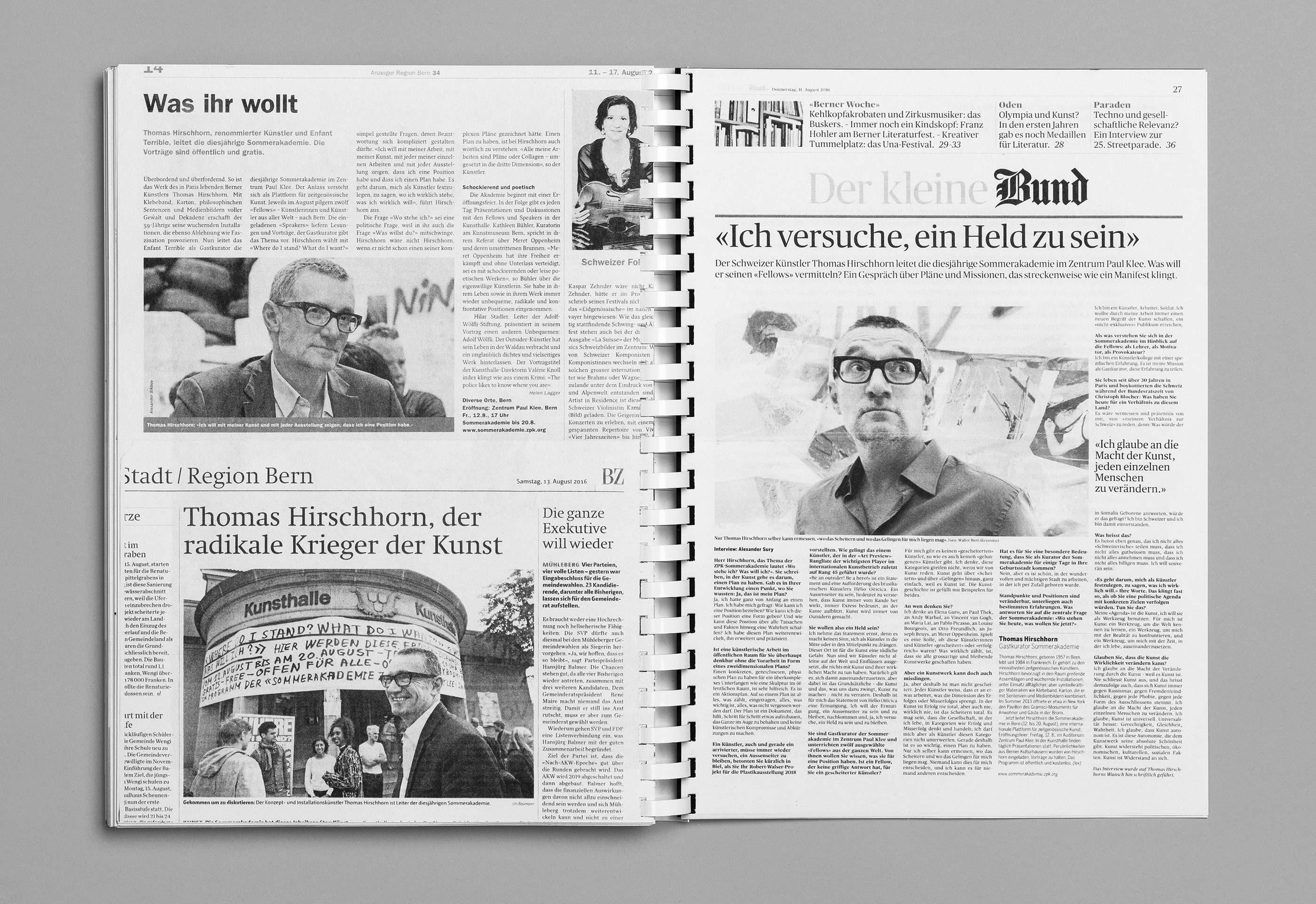 Sommerakademie im Zentrum Paul Klee 2016 – Publikation Thomas Hirschhorn, 16  ©Atelier Pol