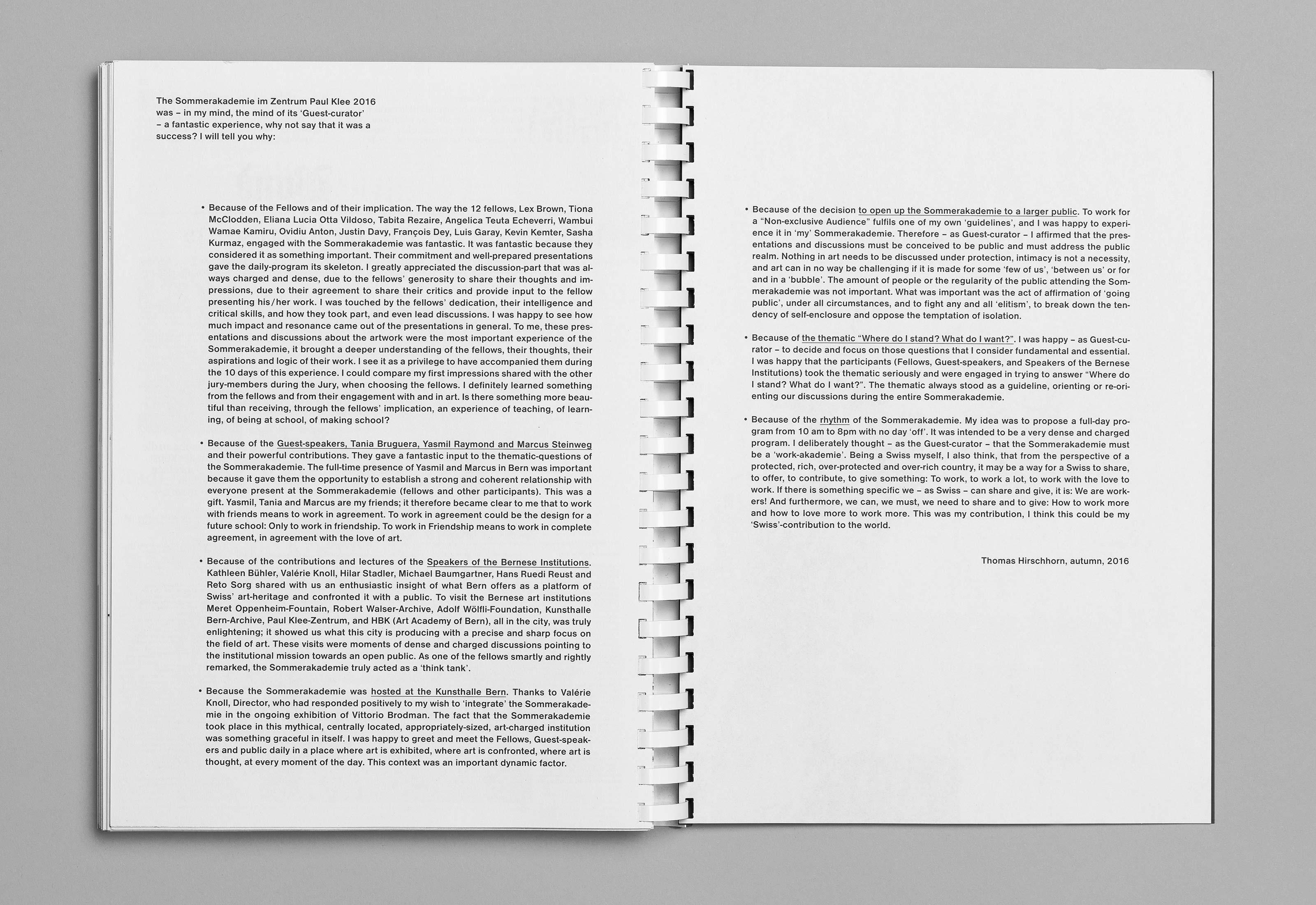 Sommerakademie im Zentrum Paul Klee 2016 – Publikation Thomas Hirschhorn, 17  ©Atelier Pol
