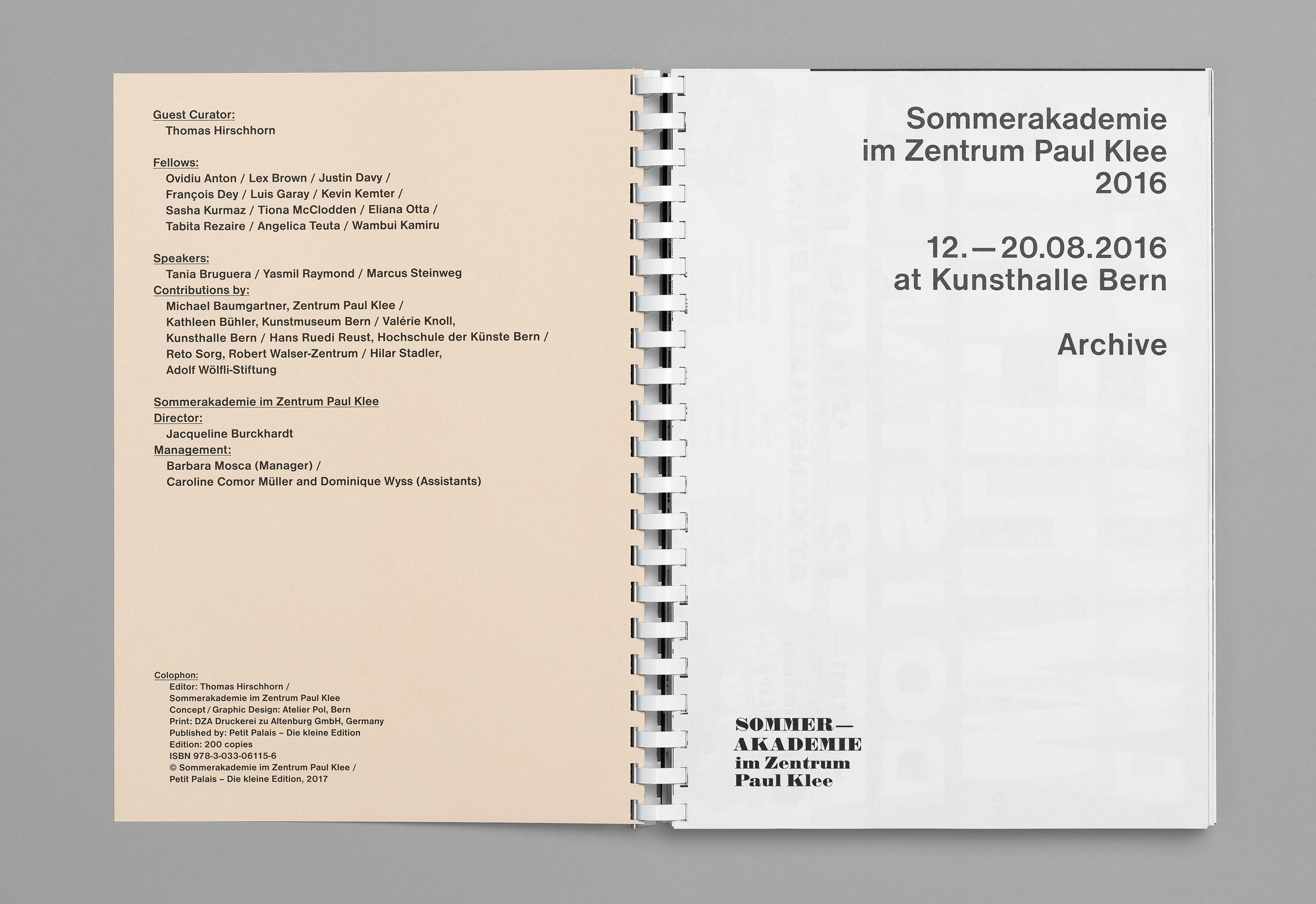 Sommerakademie im Zentrum Paul Klee 2016 – Publikation Thomas Hirschhorn, colophon  ©Atelier Pol